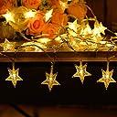 Weanas 5M 50球 LEDイルミネーションライト 星 防水 8パターン点灯モード 調光対応 電池式パワー シャンパンゴールド 結婚式 ホームパーティー お誕生日パーティー クリスマスなどに最適 電飾