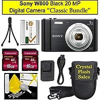 "Sony Cyber - shot DSC - w800デジタルカメラブラック"" Classicバンドル"""