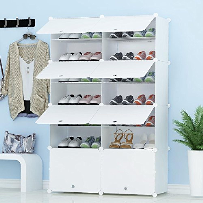 MIXED 組み立て式 シューズボックス DIYブーツラック 靴箱 靴収納ボックス 防塵?防汚?防水 かび対策 大容量 おしゃれ 白 2 * 7