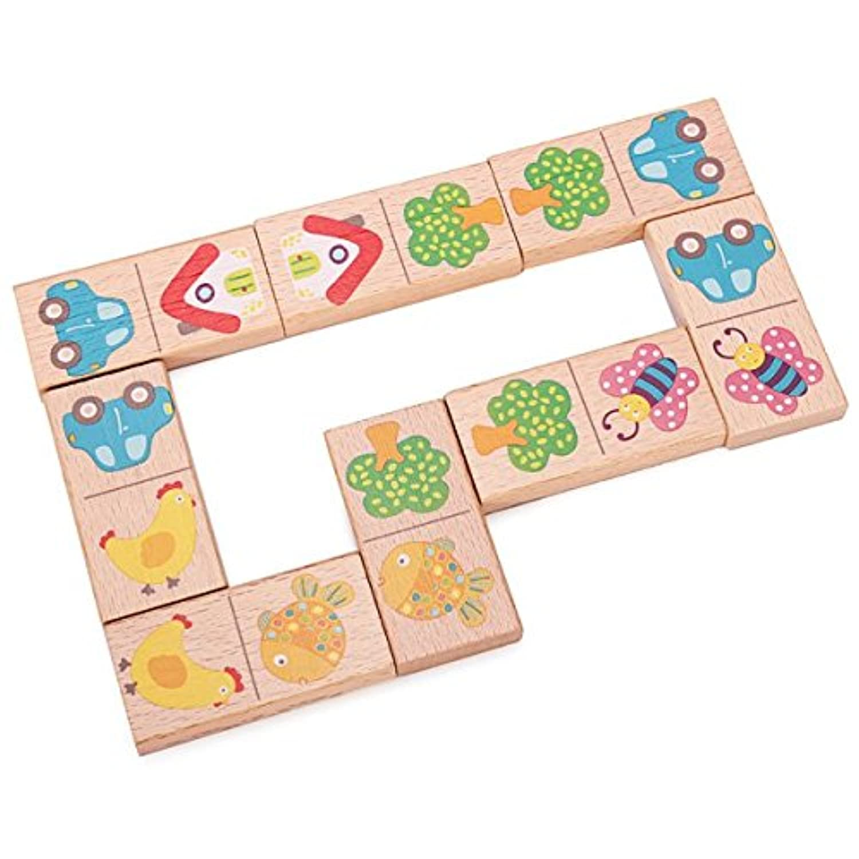 子ブナ木製動物Domino建物ブロック教育玩具