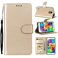 Moonmini の Samsung Galaxy S5 i9600 純正 レザー 財布 シェル カバー, フリップ 立つ, カード スロット, スタイリッシュ, Golden
