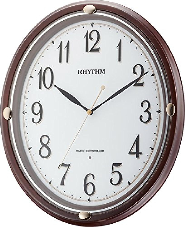 リズム時計 掛け時計 電波 アナログ フィットウェーブプリシラ 連続秒針 茶 (半艶仕上) RHYTHM 8MYA28SR06