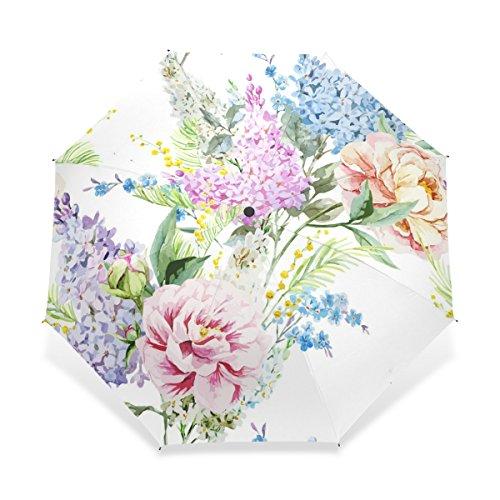 ユキオ(UKIO) 折りたたみ傘 三つ折り傘,綺麗な花 絵 オシャレ,お洒落 美品 シンプル 撥水性 手動開閉 雨傘 鞄に常備 晴雨兼用 風に強い(耐風) プレゼント