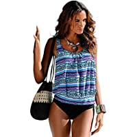 YOMORIO Women Tankini Swimsuit 2 Piece Floral Printed Swimwear Plus Size Bathing Suit