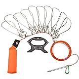 ストリンガー 10個セット 10mワイヤーロープ付き Oziral 釣り 鮮度保持 ステンレス製 ワンタッチフック フロート付き