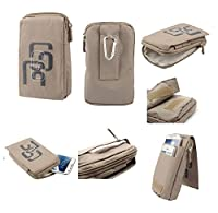 DFV mobile - Multi-functional Universal Vertical Stripes Pouch Bag Case Zipper Closing Carabiner for => SAMSUNG GALAXY ACE 4 LITE > BEIGE (16 x 9.5 cm)