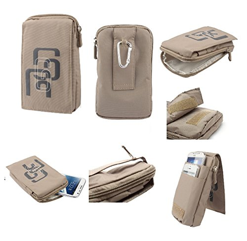 DFV mobile - Multi-functional Universal Vertical Stripes Pouch Bag Case Zipper Closing Carabiner for => SONY XPERIA M5 DUAL (SON
