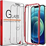 TOZO for iPhone 12 / iPhone 12 Pro 6.1 inch Screen Protector [3-Pack] Premium Tempered Glass [0.26mm] 9H Hardness 2.5D Film Super Easy