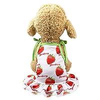 Mhomzawa 犬服 ペット服 可愛い 小型犬服 ドレスドッグウェア ベスト お散歩 お出かけウェア 春夏服 パジャマ サロペット風 イチゴ パイナップル柄 (XS, レッドA)