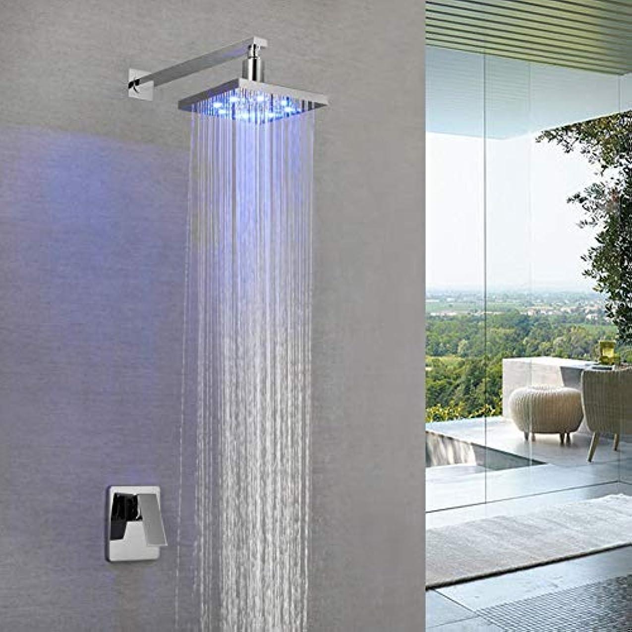 症候群料理をする真実LEDシャワーシステム、銅隠しシャワー蛇口セットLEDインウォール隠しシャワー高級ホテルのホームバス用の内蔵シャワーセット
