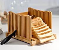 Kenleyスライス竹パン - 折りたたみ式ハンドスライサー付きポータブルパンカッティングボード