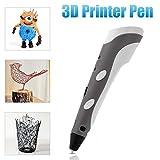 Yihiro 3Dプリントペン 3D立体印刷ペン (グレー) 3m ABSフィラメント3本付き 子供へのギフト クリスマスプレゼント 知育 玩具 おもちゃ