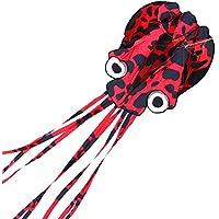 D-FantiX 凧 立体タコ カイト 凧上げ 子ども 紙鳶 凧?カイト スカイカイト 30m 凧系込み 章魚 おもちゃ ブラック&レッド