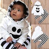Ankola 幼児用服セット 2ピース 赤ちゃん 子供用 フード付き服 カートゥーン プリントTシャツ ストライプ ロングパンツ 服 18M ホワイト