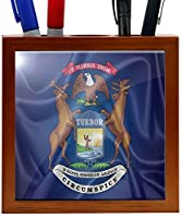 Rikki Knight RK-PH2695 Michigan State Flag Design 5-Inch Wooden Tile Pen Holder (RK-PH2695) [並行輸入品]