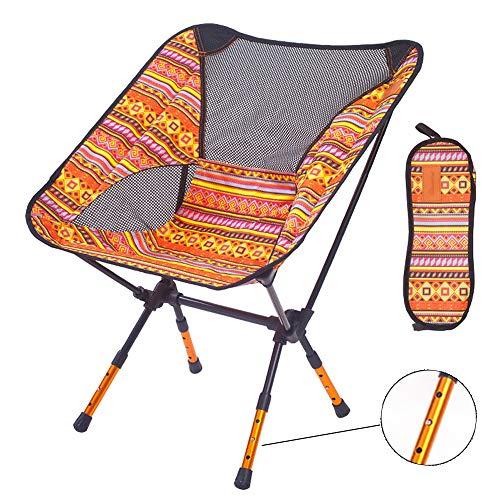 アウトドアチェア(進化版高さ3段調節可)【耐荷重150kg】FASAZ 折りたたみ 超軽量 コンパクト イス 椅子 収納袋付属 お釣り 登山 携帯便利 キャンプ椅子 (オレンジY)