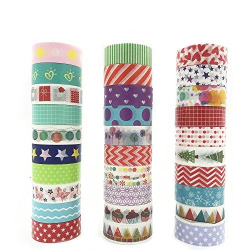Hiveseen マスキングテープ 和紙テープ ラッピング カラフルシール かわいい おしゃれ インテリア デコレーション 30巻セット