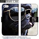 301-sanmaruichi- iPhone6s ケース iPhone6 ケース 手帳型 おしゃれ パグ Pug 犬 ドック DOG アニマル 動物 フォト 写真 かわいい B 手帳ケース