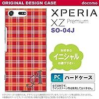 SO04J スマホケース Xperia XZ Premium ケース エクスペリア XZ プレミアム イニシャル チェックB 赤 nk-so04j-432ini Q