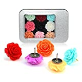 Yalis 12 Pcs Decorative Push Pins Assorted Color Floret Creative Thumbtacks for Home or Office Whiteboard Corkboard Wall Holding Photo and Paper or Decoration(Rose) [並行輸入品]