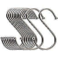AISIBO ラウンドS字型フックハンガー ポリッシュステンレススチールハンギングフック キッチン 浴室 衣類ハンガー 20個パック