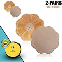 Reusable Nipple Covers 2-Pairs (Flower - Nude)