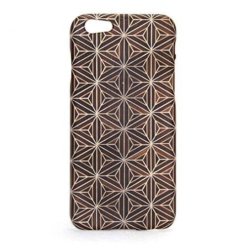 higgie 天然木iPhone6・6S対応ケース(薄型木目シート成形ジャケット) 箱根寄木細工「八重麻葉/黒」 432
