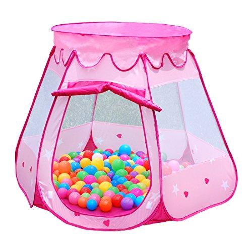 Dazers キッズテント ボールハウス 折りたたみ式 室内遊具 アウトドア おもちゃ (ピンク) ...