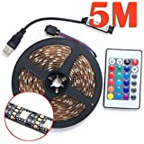 Strip Light Roll 3528 RGB 60SMD/M LED Color Changing Kit with Flexible Strip Light+24 Key IR Remote Control+ Power Supply-5M