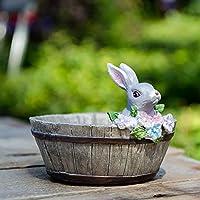 Ochine 可愛い 癒しウサギ 植木鉢 プランター デザイン小物 フラワーポット 雑貨 インテリア アウトドア DIY 飾り おしゃれ 多肉植物 寄せ植え 鉢 収納スタンドにも 両用 L12×W12×H8.5cm