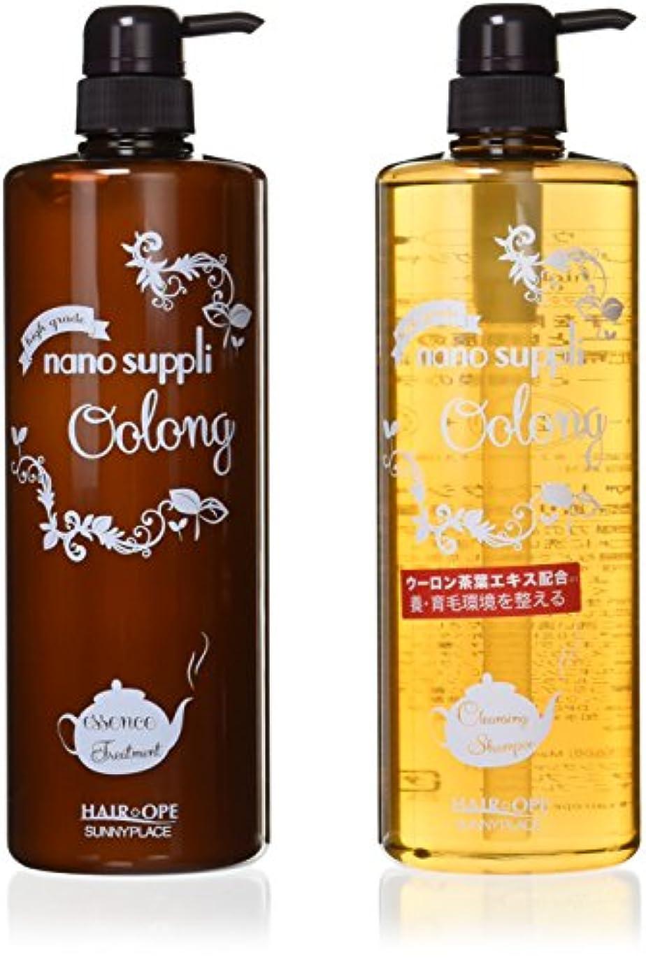 篭気配りのあるシュガー2点セット サニープレイス ナノサプリ クレンジングシャンプー&コンディショナー ウーロン 1000ml ボトルセット