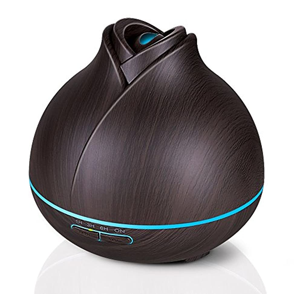 ジャンクション立方体すき400ミリリットル木目調アロマセラピーディフューザーエッセンシャルオイル用2ミストモード4タイマー設定、静かな加湿器用寝室、ホーム、オフィス,deepgrain