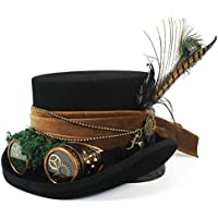 2020 Womens Hats Caps Mad Hatter Hat Pirate Hat Top Hat Fashion Casual Soft Decoration Lighting Adjustable Breathable with Goggles Steampunk Steampunk Top Hat (Color : Black, Size : 57cm)