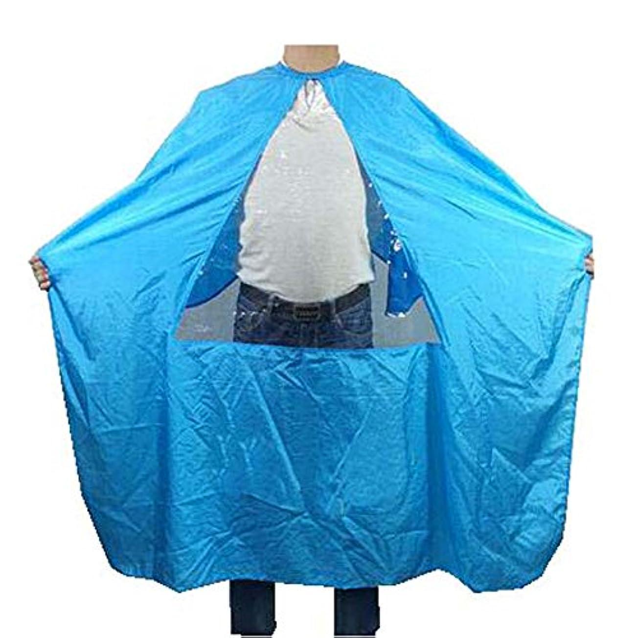 没頭する位置づけるウミウシヘアビューティーサロンクライアントガウントライアングルタンペアレント、ブルーの防水着色染料ケープスモック