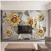 Xbwy 3D大理石のテクスチャの花壁画の壁紙ヨーロッパスタイルの豪華なリビングルームの家の装飾の壁紙-350X250Cm