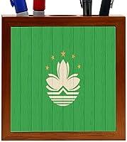 Rikki Knight Macau Flag on Distressed Wood Design 5-Inch Wooden Tile Pen Holder (RK-PH8739) [並行輸入品]