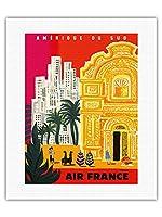 南米 - ビンテージな航空会社のポスター によって作成された ベルナール・ヴィユモ c.1958 - キャンバスアート - 41cm x 51cm キャンバスアート(ロール)