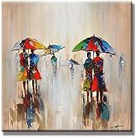 Chadow – 抽象風景City Walking in the Rain 100 %手描き油彩画with Stretchedフレーム壁アートホーム飾り24 x 24インチ