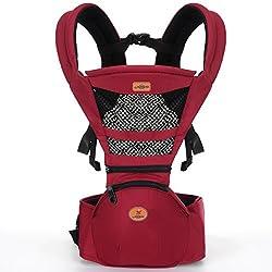 抱っこ紐 赤ちゃんの姿勢とママの負担を軽減させるために作られた新しい抱っこひも (つかれにくい腰ベルトタイプ) ワインレッド