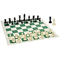 king Tournament Roll-Up Staunton Chess Set w/ Travel Canvas Bag - Green