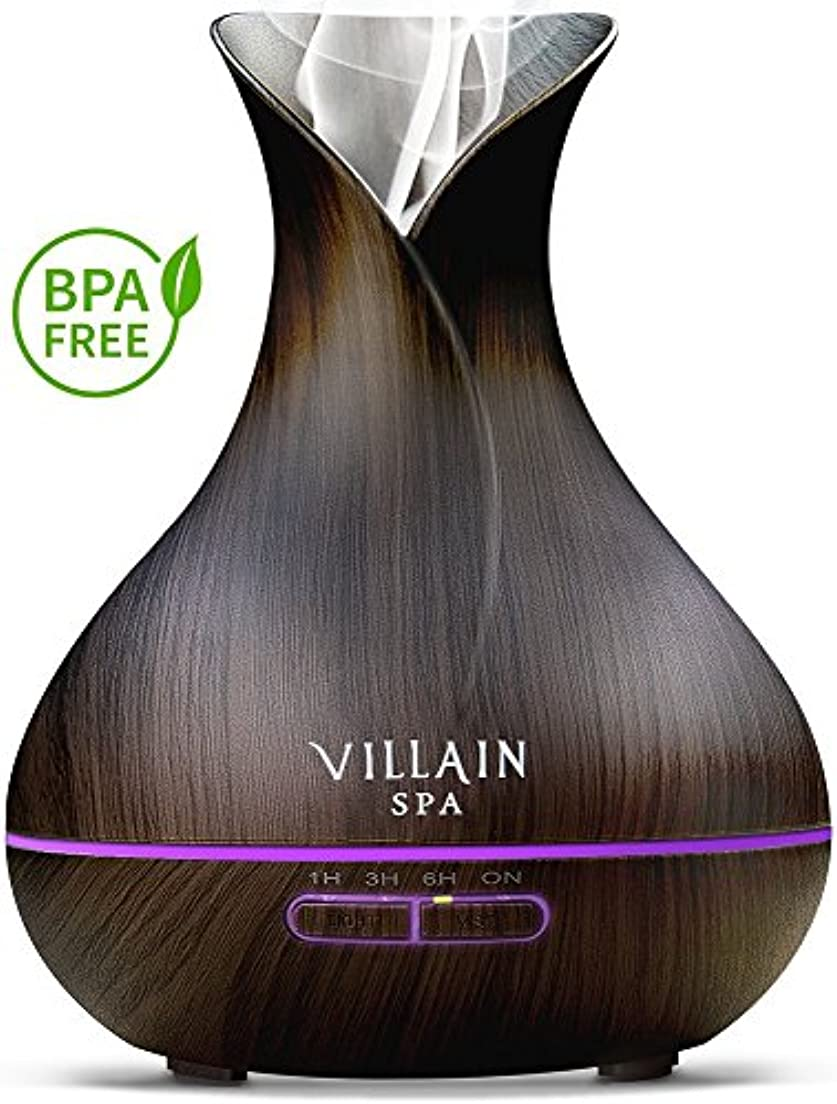 マエストロ飽和する限界Villain Spa超音波アロマエッセンシャルオイルディフューザー、400 ml木目クールミスト加湿器with 7 LEDライトの色変更、ミストコントロール、自動オフ、8 - 12 HR。ミスト