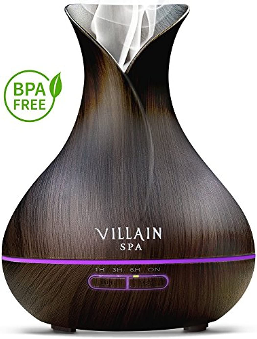 Villain Spa超音波アロマエッセンシャルオイルディフューザー、400 ml木目クールミスト加湿器with 7 LEDライトの色変更、ミストコントロール、自動オフ、8 - 12 HR。ミスト