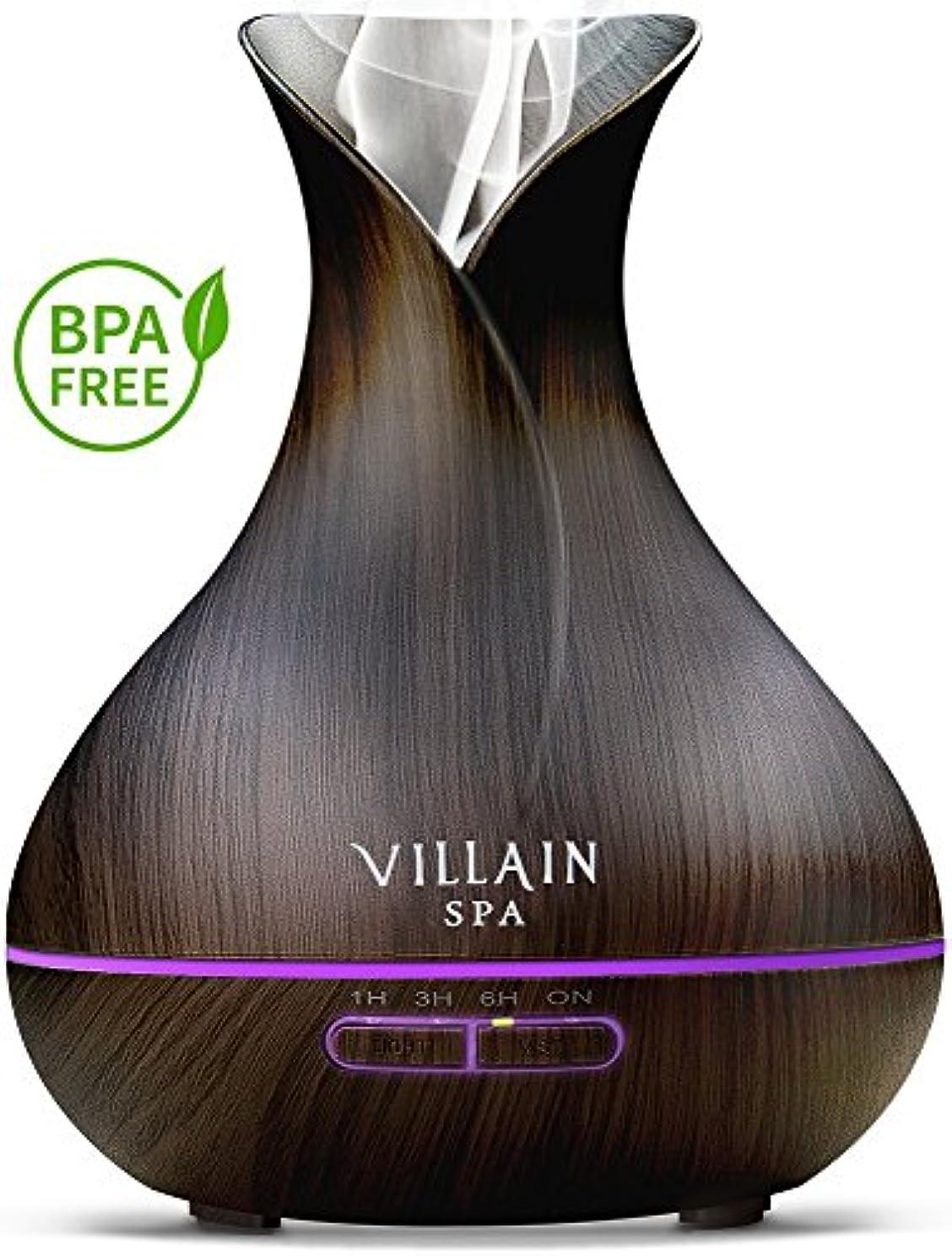 バケツ国民動力学Villain Spa超音波アロマエッセンシャルオイルディフューザー、400 ml木目クールミスト加湿器with 7 LEDライトの色変更、ミストコントロール、自動オフ、8 - 12 HR。ミスト