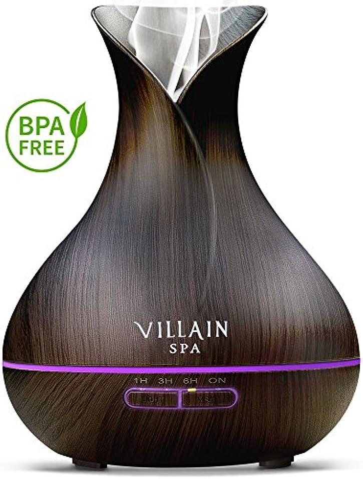 強度キルトカレッジVillain Spa超音波アロマエッセンシャルオイルディフューザー、400 ml木目クールミスト加湿器with 7 LEDライトの色変更、ミストコントロール、自動オフ、8 - 12 HR。ミスト