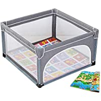 赤ちゃんの遊び場クロールマット付きポータブル屋内ベビーステップ屋内の安全性のプレイセンターヤード (色 : Gray)