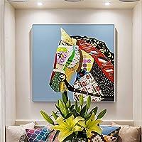 壁飾り塗装 リビングルームベッドルームの浴室の壁の芸術大現代の家庭の装飾を描く馬塗装手を描きます リビングルームの装飾画 (Color : 01, Size : 80x80cm)