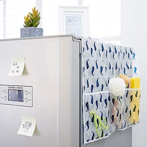 冷蔵庫カバー 冷蔵庫ダストカバー 洗濯機カバー ホコリ防止カバー 小物の入れる収納袋付き 防塵 防水 ほこり防止 クジラ