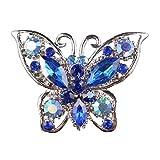 【ノーブランド品】青 結婚式 花嫁 ラインストーン 蝶の襟のブローチピン 宝石類のギフト