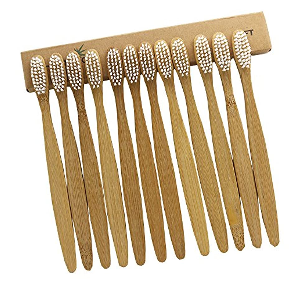 追放嘆く確立N-amboo 竹製 歯ブラシ 高耐久性 セット エコ 軽量 12本入り セット白