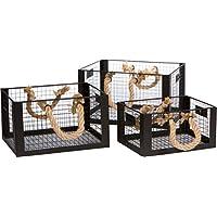 商標Innovationsワイヤメタルストレージホーム飾りバスケットロープハンドル付き – 3のセット
